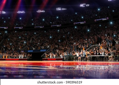 Basketball court with people fan. Sport arena. photorealism 3d render background. blurred in long shot distance like leans optical