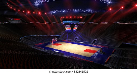 Basketball court. Sport arena.Photoreal 3d render background. blured in long shot distance(like leans optical), a little noise (like photography)