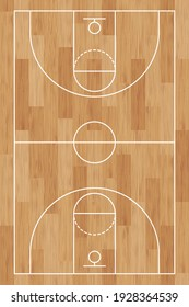 Basketball court. Wooden floor. background painted with line and basket. Basketball field. Sport play overhead view. Texture with wood pattern. Playground top plan. Vertical wooden board. Illustration