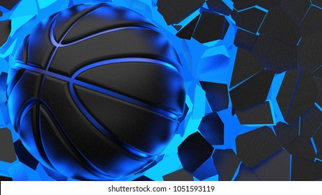 Basketball crash blue lighting wall and wall was cracked. 3D illustration. 3D high quality rendering.