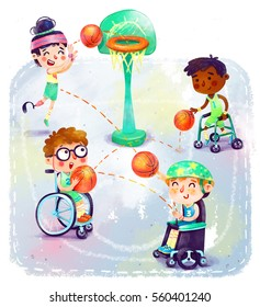Basketball of disabled kids