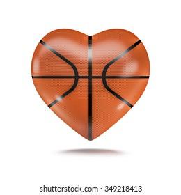 Basketball heart / 3D render of heart shaped basketball
