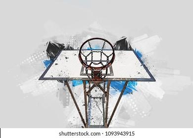 Basketball hoop - digital painting - Creative illustration - Grunge version