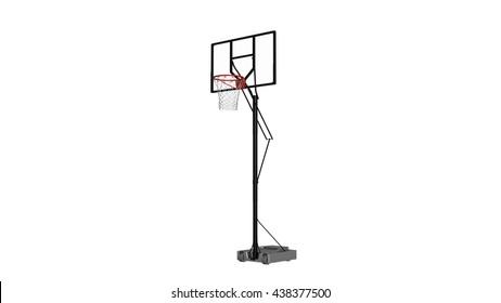 Basketball hoop, sports equipment isolated on white, 3D illustration