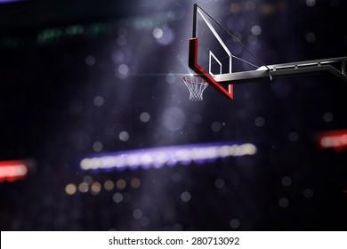 Basketball houp in light shine in bokeh background. 3d render illustration