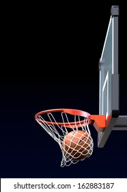 Basketball kit with backboard, hoop, net and ball