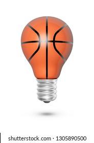 Basketball light bulb / 3D illustration of light bulb shaped basketball isolated on white background