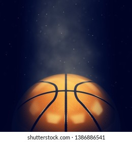 Basketball lit by spotlight close up with copy space, 3d illustration