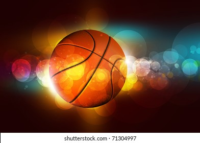 basketball on the color glow background