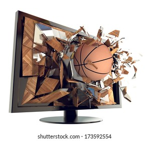 A Basketball on TV. Abstract 3d Broken glass of a television with Basketball. Live Basketball game broadcasting concept. Fun and exciting.