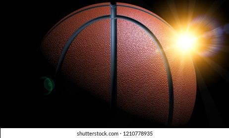 Basketball with orange flash light flare under black background. 3D illustration. 3D high quality rendering.