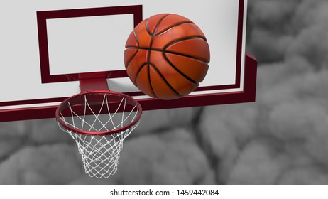 Basketball and basketball plate with dark brown toned foggy smoke background.. 3D illustration. 3D high quality rendering.