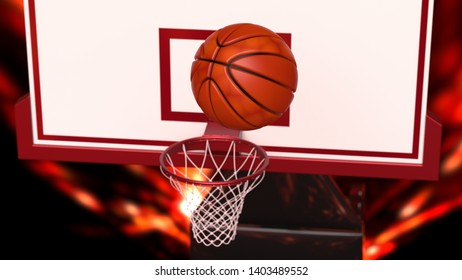 Basketball and basketball plate under fire orange laser lighting. 3D illustration. 3D high quality rendering.