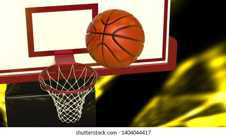 Basketball and basketball plate under yellow laser lighting. 3D illustration. 3D high quality rendering.