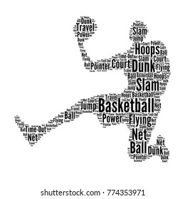 Basketball player - Cloud word in shape of basketball player