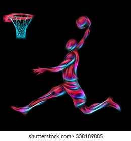 Basketball player Slam Dunk Neon Glow Silhouette. Creative illustration on black background
