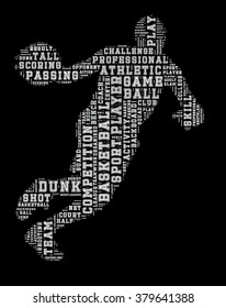 Basketball player word cloud, basketball typography background