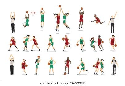 Basketball players set illustrations on white background.