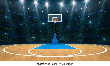 Basketball sport arena. Interior view to wooden floor of basketball court. Basketball hoop front view. Digital 3D illustration of sport background. My own design.
