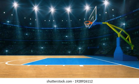 Basketball sport arena. Interior view to wooden floor of basketball court. Basketball hoop side view. Digital 3D illustration of sport background. My own design.