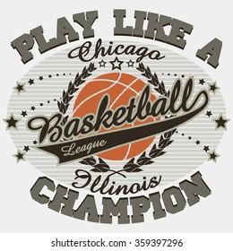 Basketball Sport Fashion Typography Graphics. Chicago T-shirt Design. Basket ball T-shirt Design. Basketball College Tee print, Basketball  jersey print USA, sport apparel tee stamp, New artwork denim