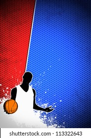 Basketball sport poster: man and ball grunge background withs space