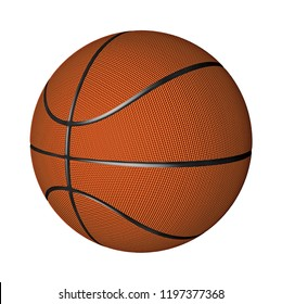basketball sports object game ball 3d illustration orange color