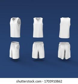 Basketball tank top design template, Sport jersey mockup. uniform front and back view. 3d illustration, 3d rendering
