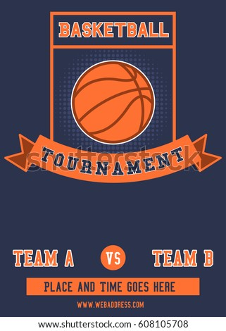 basketball tournament flyer poster template stock illustration