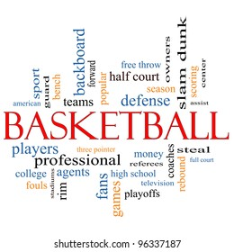 Basketball Word Cloud Concept with great terms such as coaches, steal, rebound, slam dunk, center, assist, games and more.
