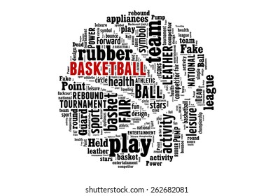 Basketball word cloud concept. illustration with text, black and white, red detail