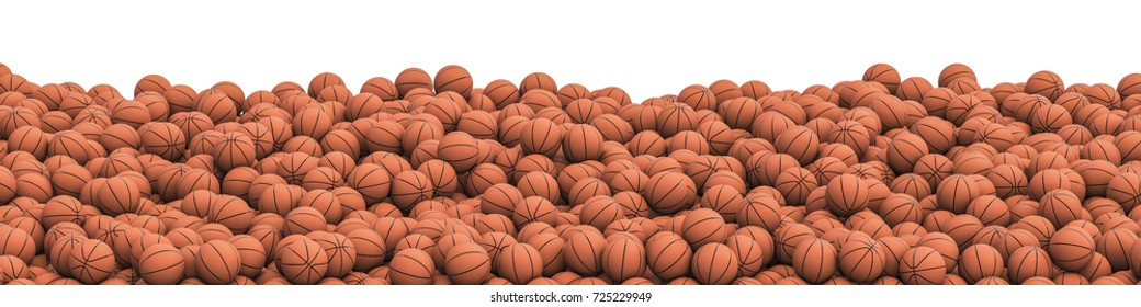 Basketballs pile panorama / 3D illustration of panoramic view of hundreds of basketballs