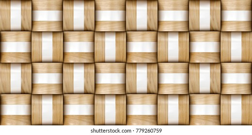 Basketry 3d tiles with gold decor . Material wood oak and gold metal. High quality seamless realistic texture.