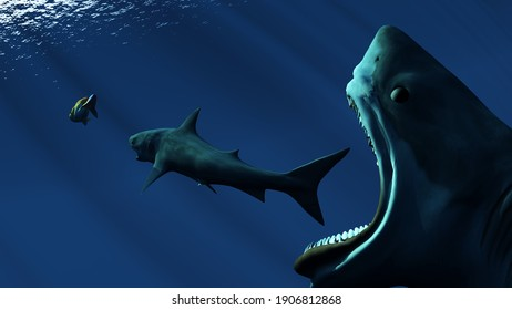 The basking shark under water.,3d render