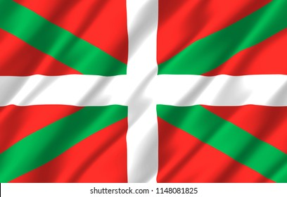 Basque Country 3D waving flag illustration. Texture can be used as background.