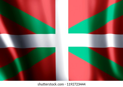 Basque Country stylish waving and closeup flag illustration. Perfect for background or texture purposes.
