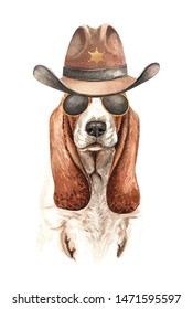 Basset Hound dog. Portrait of a dog. Watercolor hand drawn illustration.Watercolor Basset Hound cowboys Hat Sheriff's and sunglasses layer path, clipping path isolated on white background.