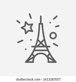 Bastille day icon line symbol. Isolated illustration of icon sign concept for your web site mobile app logo UI design.