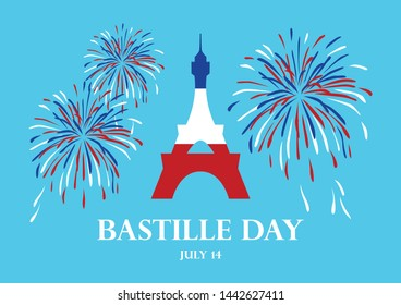 Bastille Day illustration. Eiffel Tower with fireworks illustration. Eiffel Tower in colors of French Flag illustration. Bastille Day Poster, July 14. French national holiday. Important day