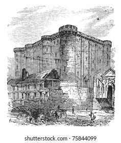 The Bastille or Bastille Saint-Antoine in Paris, France. Vintage engraving. Old engraved illustration of the French fortress-prison in 1890.