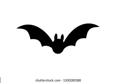 Bat icon. Bat black silhouette with wings isolated white background. Symbol Halloween holiday, mystery dark vampire, night flyin element. Spooky scary flat design. Cartoon batman illustration