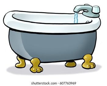 A bath tub filling up with water