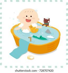 Bathing baby boy.vector illustration