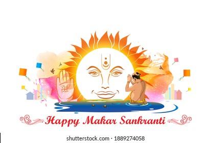 Bathing in river water. kumbh mela. prayer and worship of sun Makar Sankranti background with typography text Happy Makar Sankranti