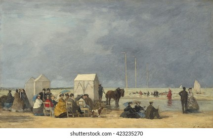 Bathing Time at Deauville, by Eugene Boudin, 1865, French impressionist painting, oil on wood panel. Boudin's beach scenes, though crowded, lacking narrative or anecdote, but showed the bourgeoisie i
