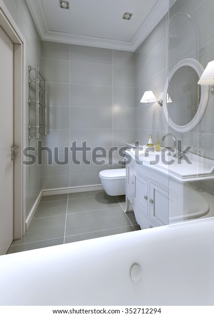 Bathroom Art Deco Style Grey Ceramic Stock Illustration 352712294