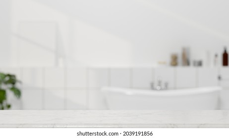 Bathroom background, Mockup space for montage product on white marble tabletop over bright modern bathroom with bathtub and minimalist interior in background, 3d rendering, 3d illustration
