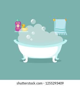 Bathroom cartoon interior with bathtub full of foam and shower
