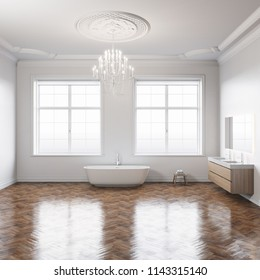 Bathroom classic interior with white walls and wooden parquet floor 3D render