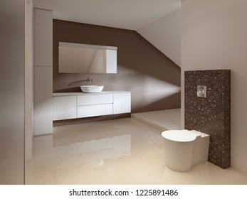 Bathroom in Contemporary style in brown and white colors. 3d rendering.